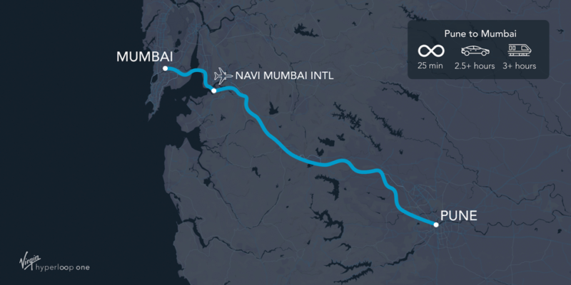 The proposed route between Mumbai and Pune.