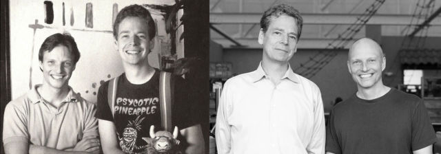 Fred Ford and Paul Reiche III, in the early 1990s at left and present day at right. (Reiche is the taller one.)