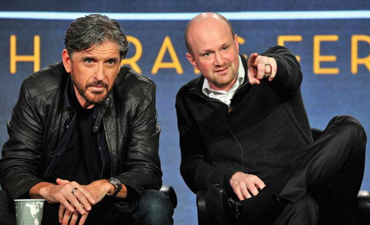 Brian Volk-Weiss (right) presents with Craig Ferguson ahead of their History Channel project.