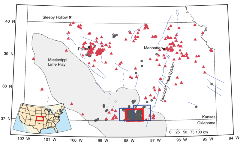 Known earthquakes 1867-2013 shown with red triangles, and earthquakes 2013-2016 shown with gray circles—notably clustered in a small area near the Oklahoma border where wastewater was injected underground.