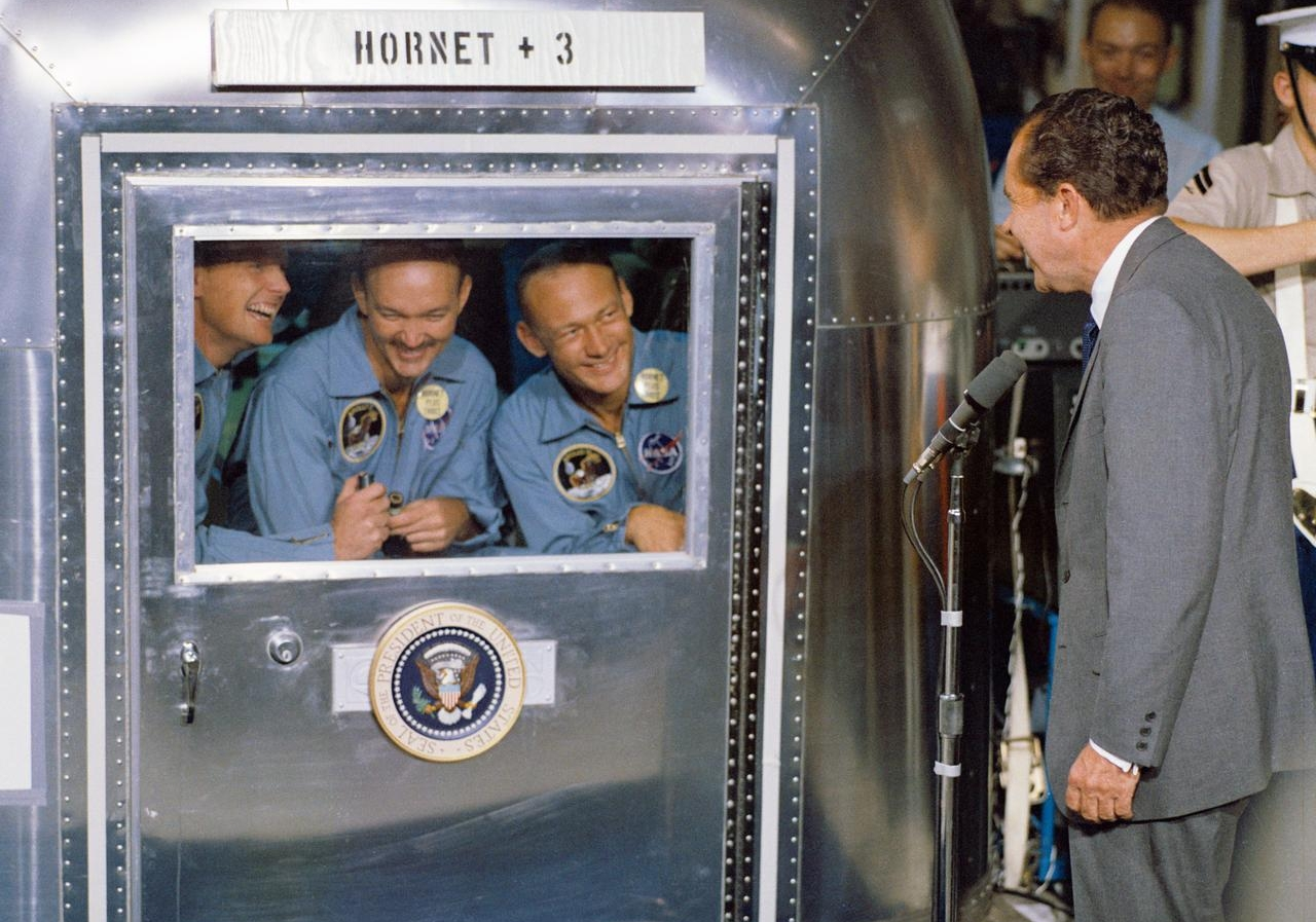 President Richard M. Nixon was in the central Pacific recovery area to welcome the Apollo 11 astronauts aboard the USS <em>Hornet</em>, prime recovery ship for the historic Apollo 11 lunar landing mission.