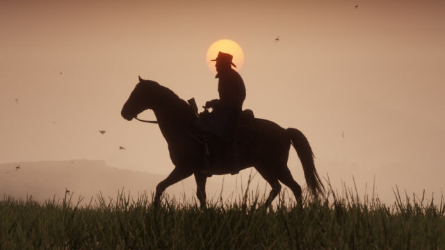 <em>Red Dead Redemption 2</em> does, in fact, feature horses and sunsets.