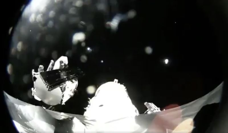 A view in outer space of SpaceX's first two broadband satellites.