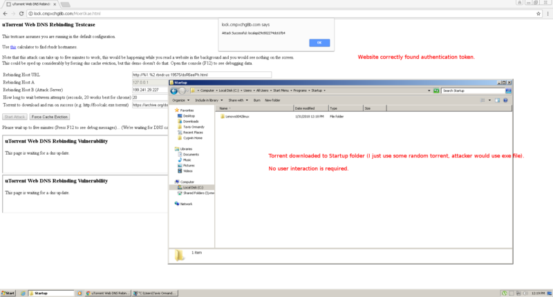 A screenshot of one of the uTorrent PoC exploits in action.