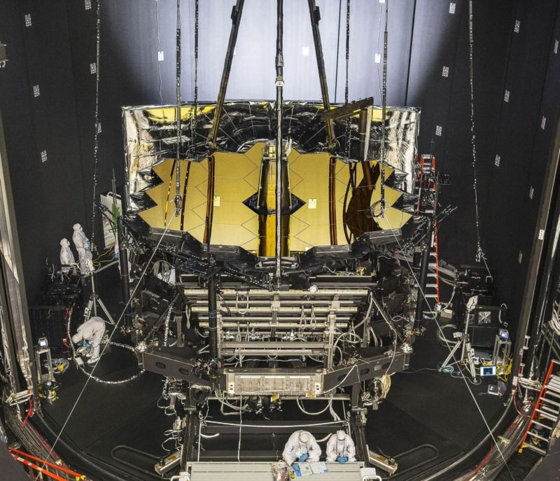 NASA's James Webb Space Telescope was placed in Johnson Space Center's historic Chamber A for vacuum testing on June 20, 2017.