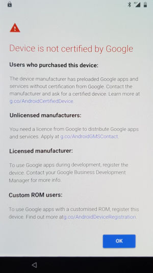 "Google's warning message to users of pirated Google apps.  - 5 1 300x533 - Google starts blocking ""uncertified"" Android devices from logging in"