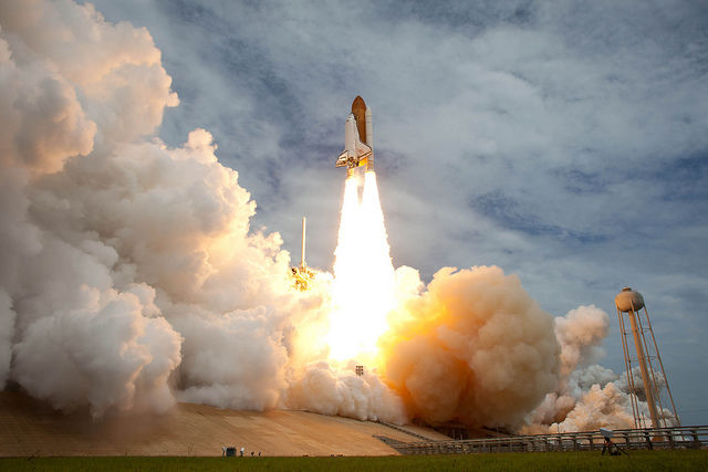 Space shuttle Atlantis is seen as it launches from pad 39A on Friday, July 8, 2011, at NASA's Kennedy Space Center in Cape Canaveral, Florida. The launch of Atlantis, STS-135, is the final flight of the shuttle program, a 12-day mission to the ISS.