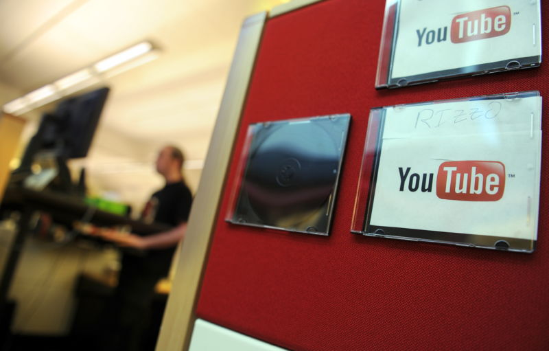 Employees work at the Youtube headquarters in San Bruno, California, on May, 26, 2010.
