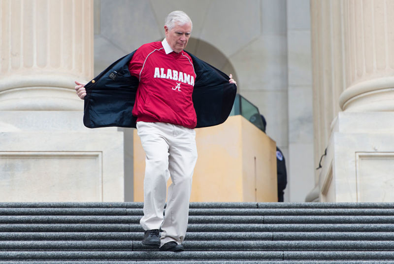 Rep. Mo Brooks, R-Ala., descends the House steps in 2016.