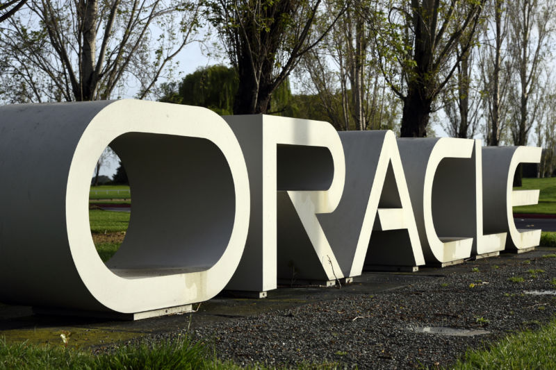 Signage stands at the Oracle Corp. headquarters campus in Redwood City, California, on March 14, 2016.