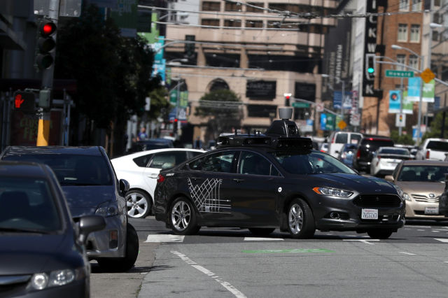 An Uber self-driving car in San Francisco in 2017.