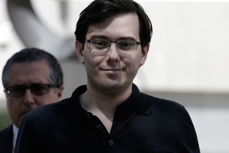 Martin Shkreli, former chief executive officer of Turing Pharmaceuticals AG, exits federal court in the Brooklyn borough of New York on Friday, Aug. 4, 2017.