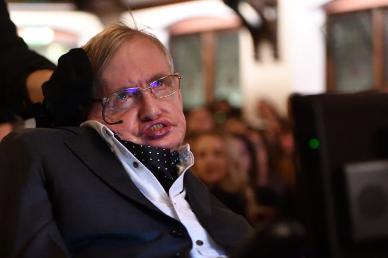Professor Stephen Hawking addressing The Cambridge Union on November 21, 2017 in Cambridge, Cambridgeshire.