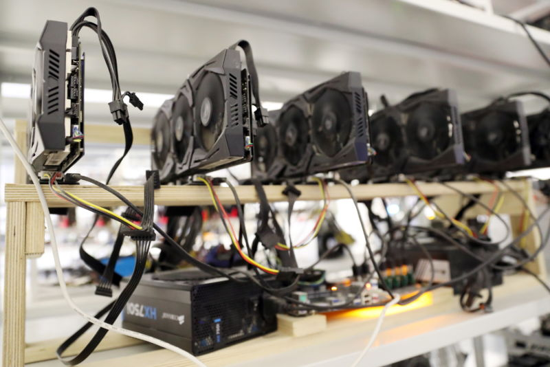 Cryptocurrency mining in operation.