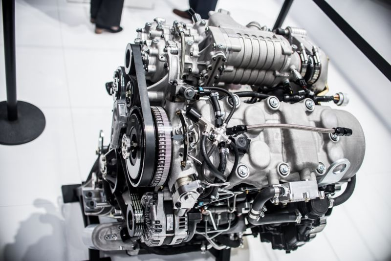 DETROIT, USA - JANUARY 15: Model of a Saudi Aramco internal combustion engine is on display during the North American International Auto Show at Cobo Center in Detroit, Michigan, on January 15, 2018.  (Photo by David Graff/Anadolu Agency/Getty Images)