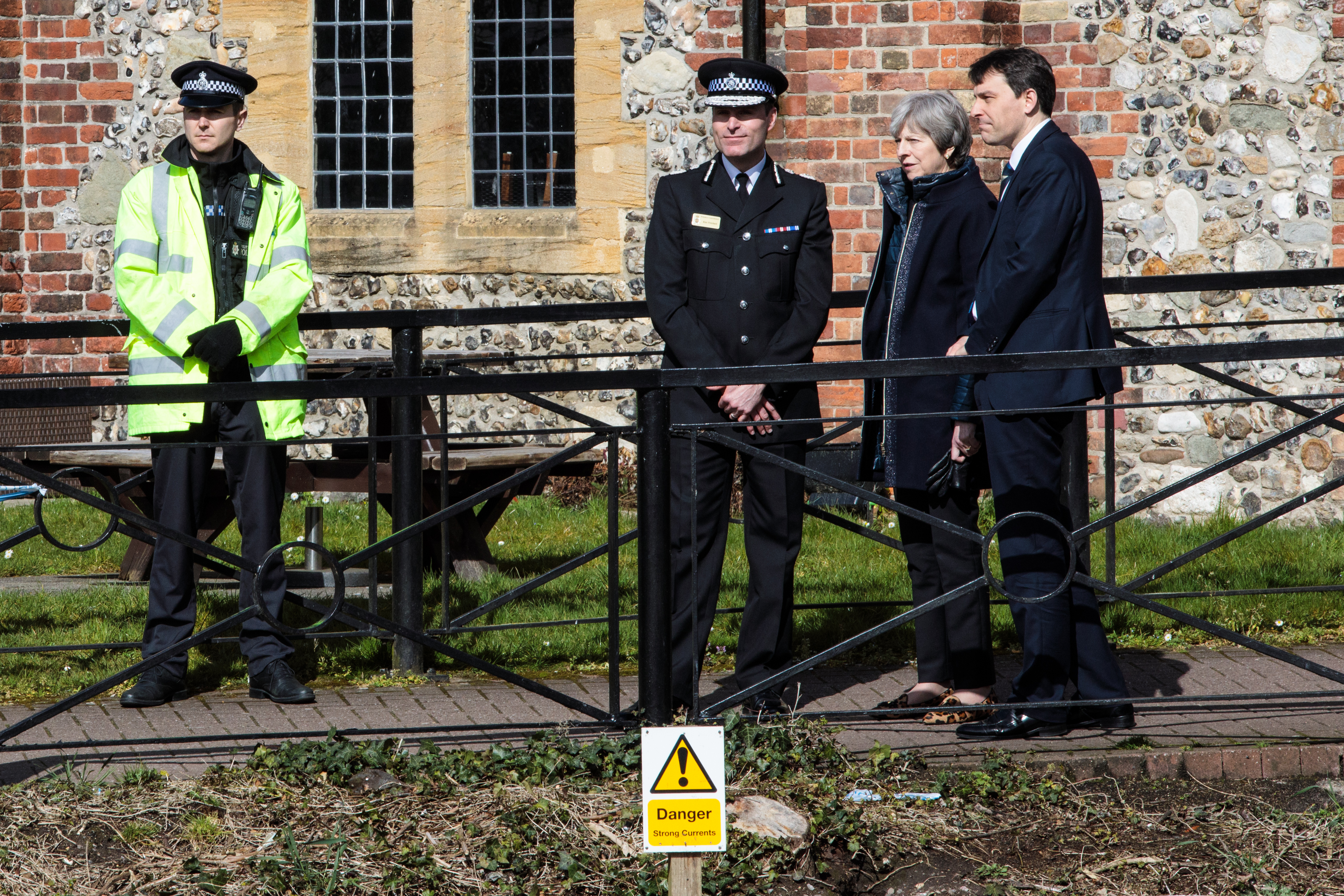 British Prime Minister Theresa May at the location in Salisbury visited by Sergei Skripal and his daughter Yulia before they were found on a nearby bench in March. British intelligence traced the nerve agent used to a Russian facility in the closed city of Shikhany.
