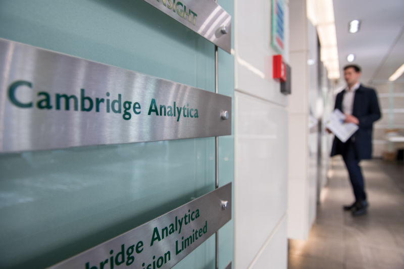 Signs for Cambridge Analytica in the lobby of the building in which the firm is based on March 21, 2018 in London.