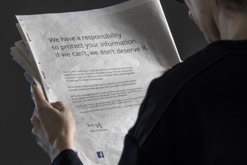 Facebook took out ads in US and UK Sunday newspapers apologizing for not doing more to prevent customer data leaks amidst mounting concerns about just how much data Facebook collects.