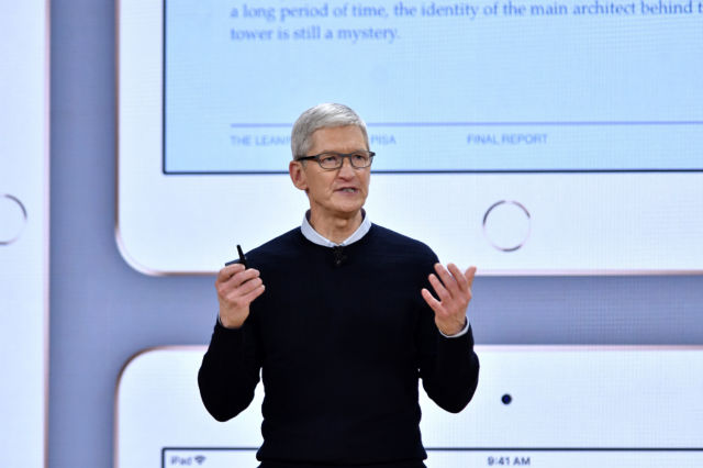 Tim Cook, chief executive officer of Apple Inc., speaks during an event at Lane Technical College Prep High School in Chicago, Illinois, on Tuesday, March 27, 2018.