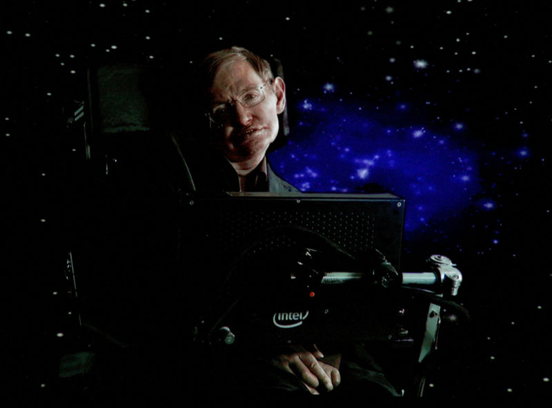 Stephen Hawking speaks via satellite during the Science Channel portion of the 2010 Television Critics Association Press Tour at the Langham Hotel in Pasadena, California.