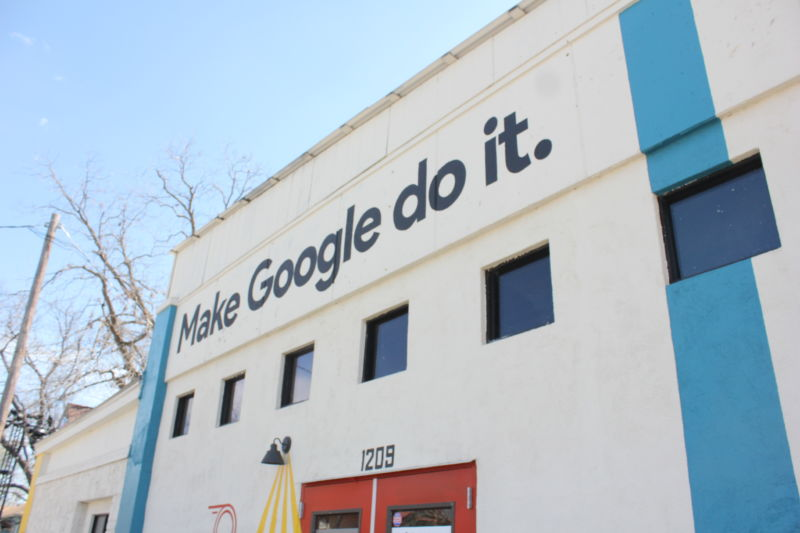 A building taken over by Google during SXSW. The banner reads: