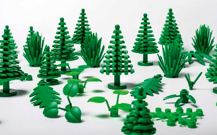 All of these Lego pieces will now be made of sugarcane-derived polyethylene.