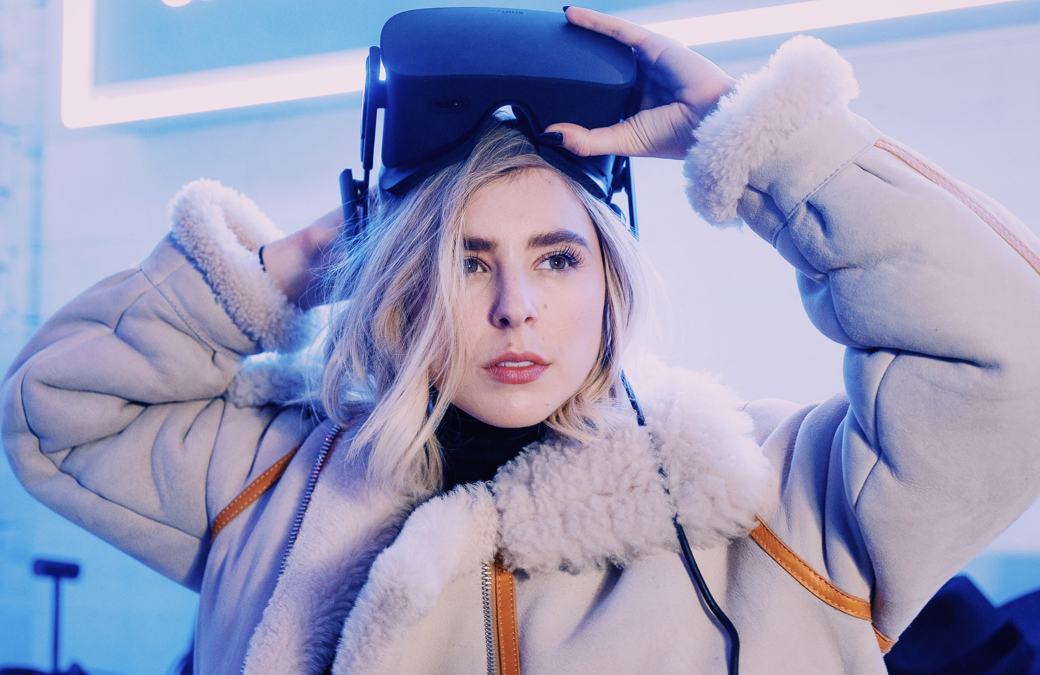 Director Eliza McNitt, who proves that VR always looks cooler with a puffy jacket.