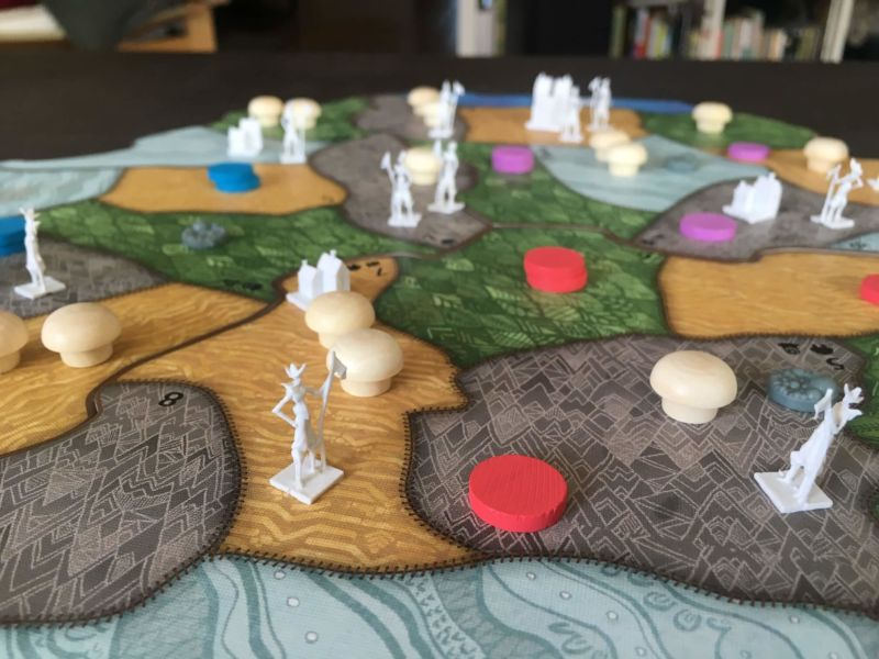Game board and pieces for Spirit Island.