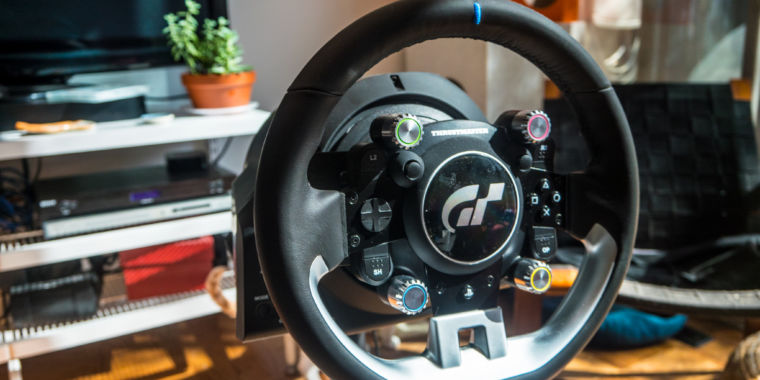 photo image The Thrustmaster T-GT is a great—if expensive—wheel for the PS4