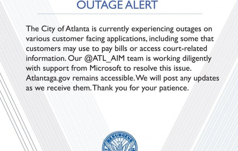 The message posted to social media by the city of Atlanta in the wake of an apparent ransomware attack.