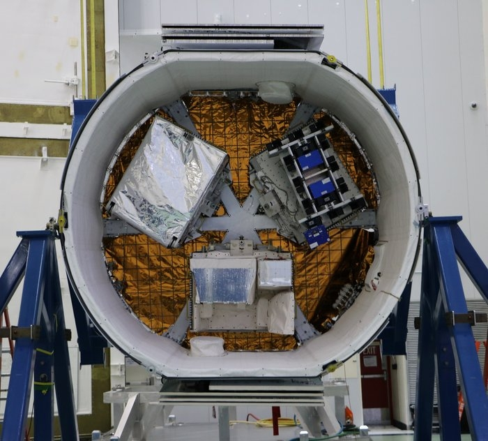 A view inside the trunk of the CRS-14 Dragon spacecraft.