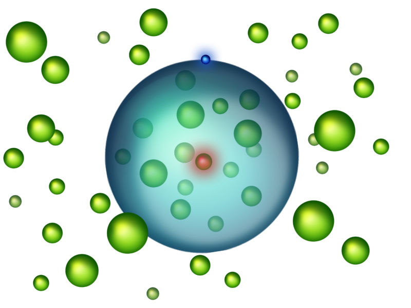 Giant atom hides its neighbors under a single-electron skirt