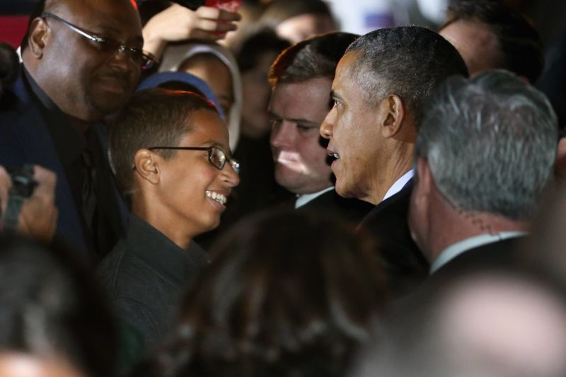 Then-President Barack Obama talks with 14-year-old Ahmed Mohamed at the White House on October 19, 2015 in Washington, DC.