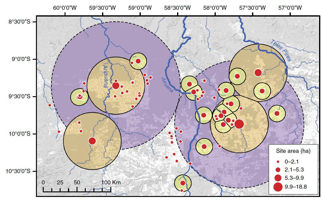 Map of the distribution of earthwork enclosures in the survey area