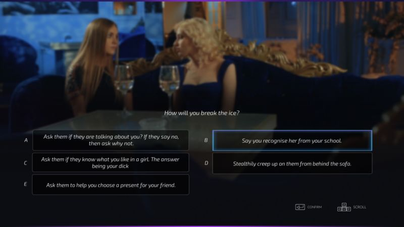 An example of some of the &quot;hilarious&quot; options for how to pick up women in <em>Super Seducer</em>.
