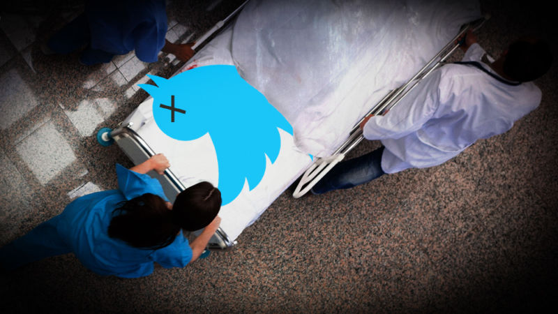 Twitter's bird logo is being wheeled on a stretcher.