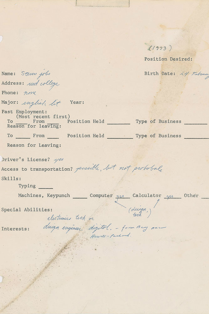 Steve Jobs  Job Application Fetches  At Auction  Ars