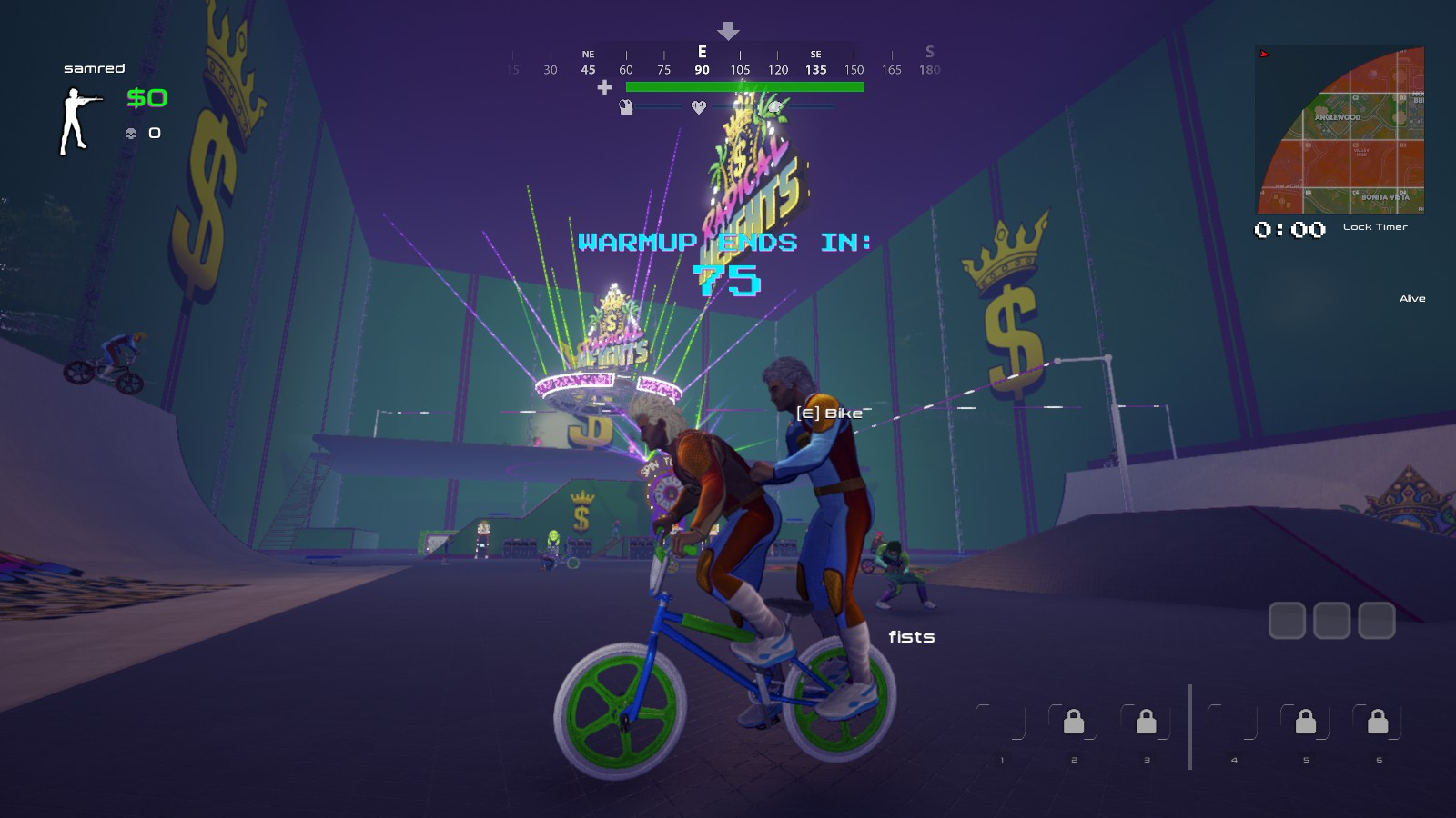 The pre-match lobby is also painfully barren, but at least you can ride around on BMX bikes with a bunch of other people. If that's your thing.