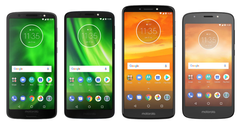 The Moto G6, Moto G6 Play, Moto E5 Plus, and Moto E5 Play. (Not exactly to scale.)