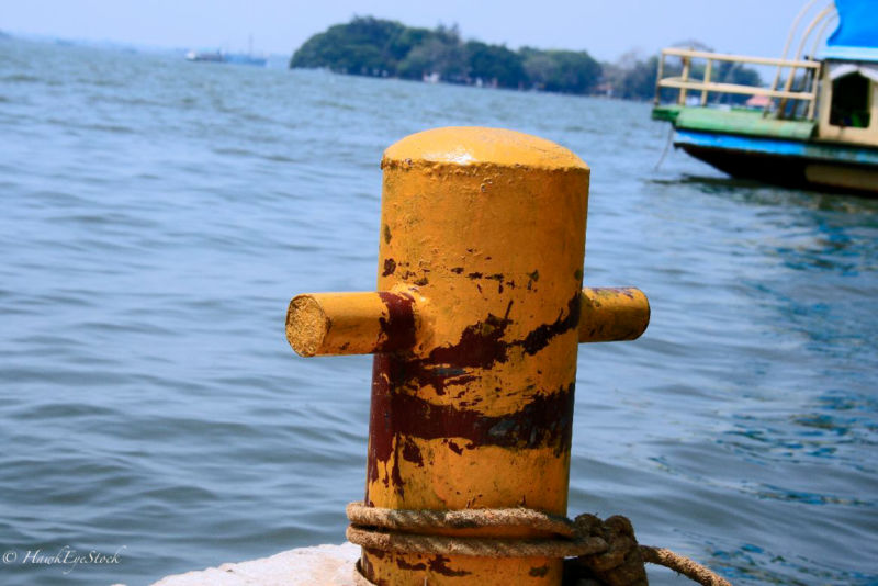 Image of a bollard (a post used for mooring boats).