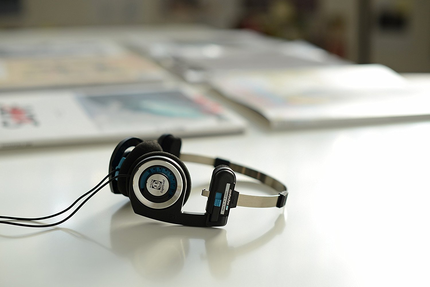 The wired Koss Porta Pro, which requires the 3.5mm headphone jack.