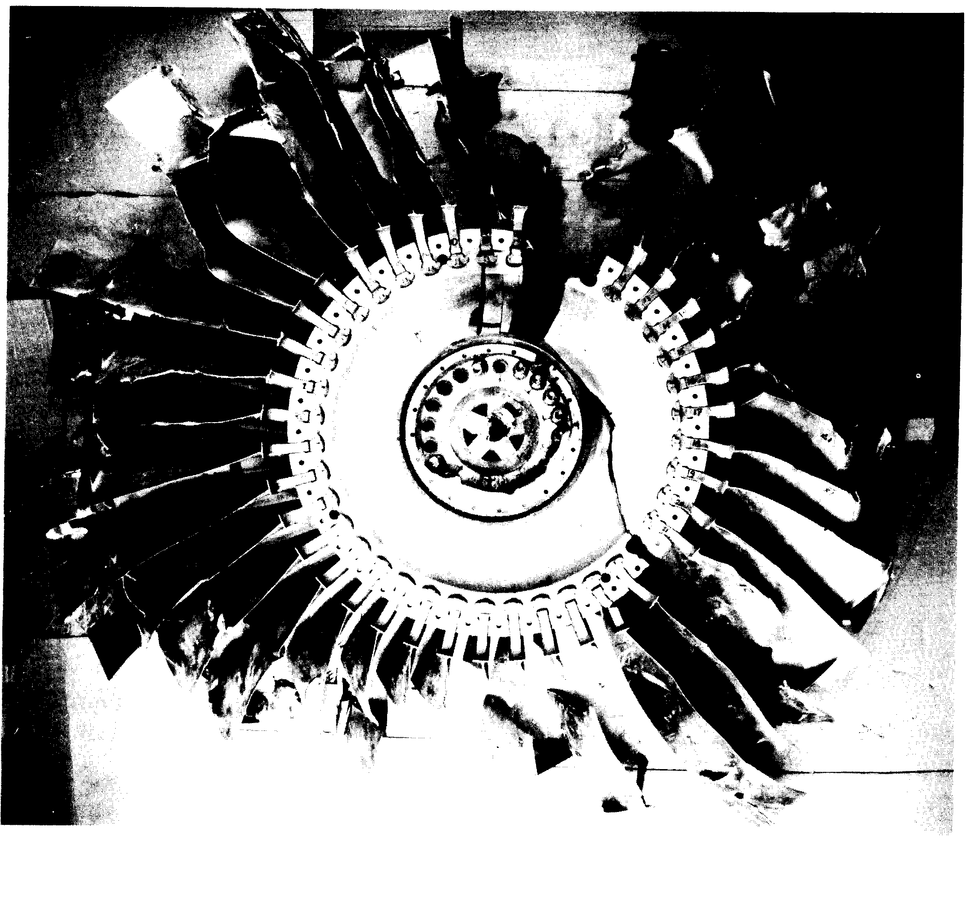 A picture of what remained of the fan of the rear engine of UAL flight 232, a DC-10 that crashed in Sioux City in 1989, from the National Transportation Safety Board Report.