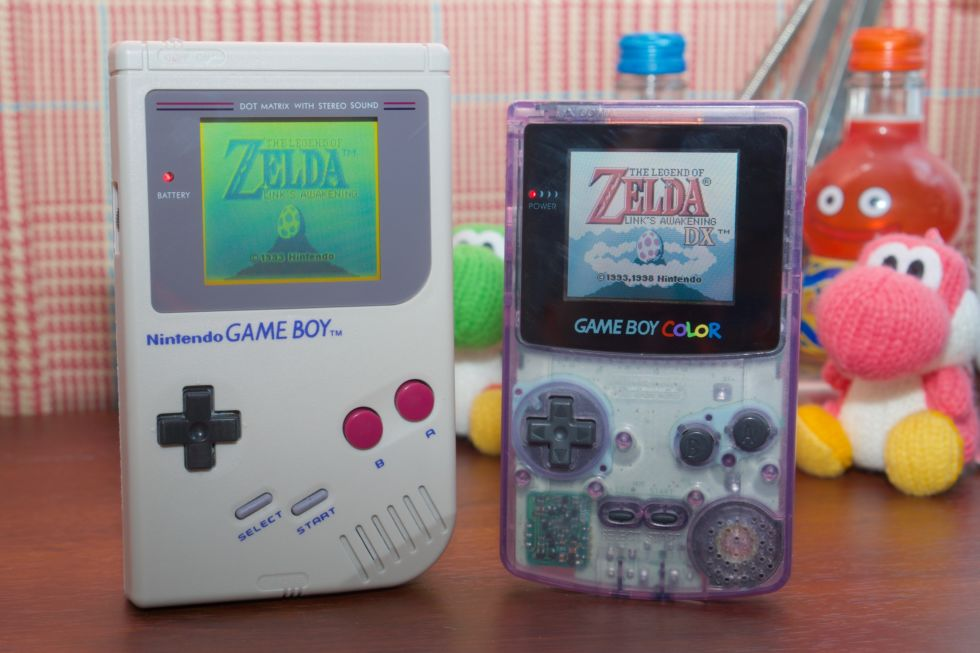 A Game Boy and Game Boy Color restored to their original glory with a good cleaning and a few new parts.