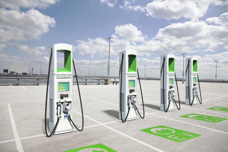 A Row Of Electric Vehicle Chargers