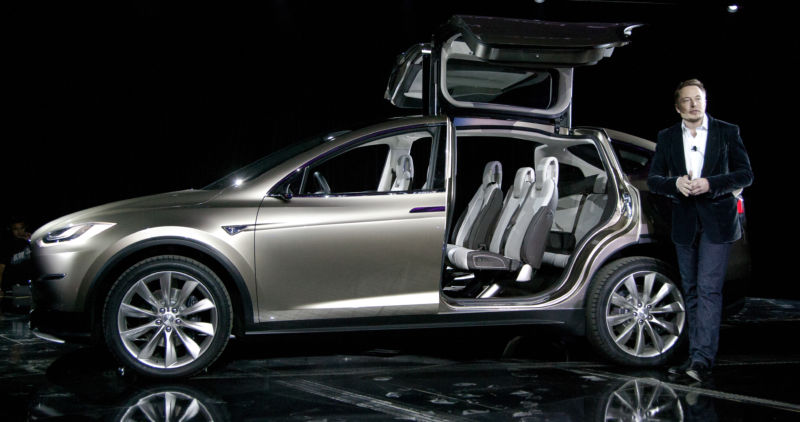 Elon Musk unveiling the Model X in 2012.