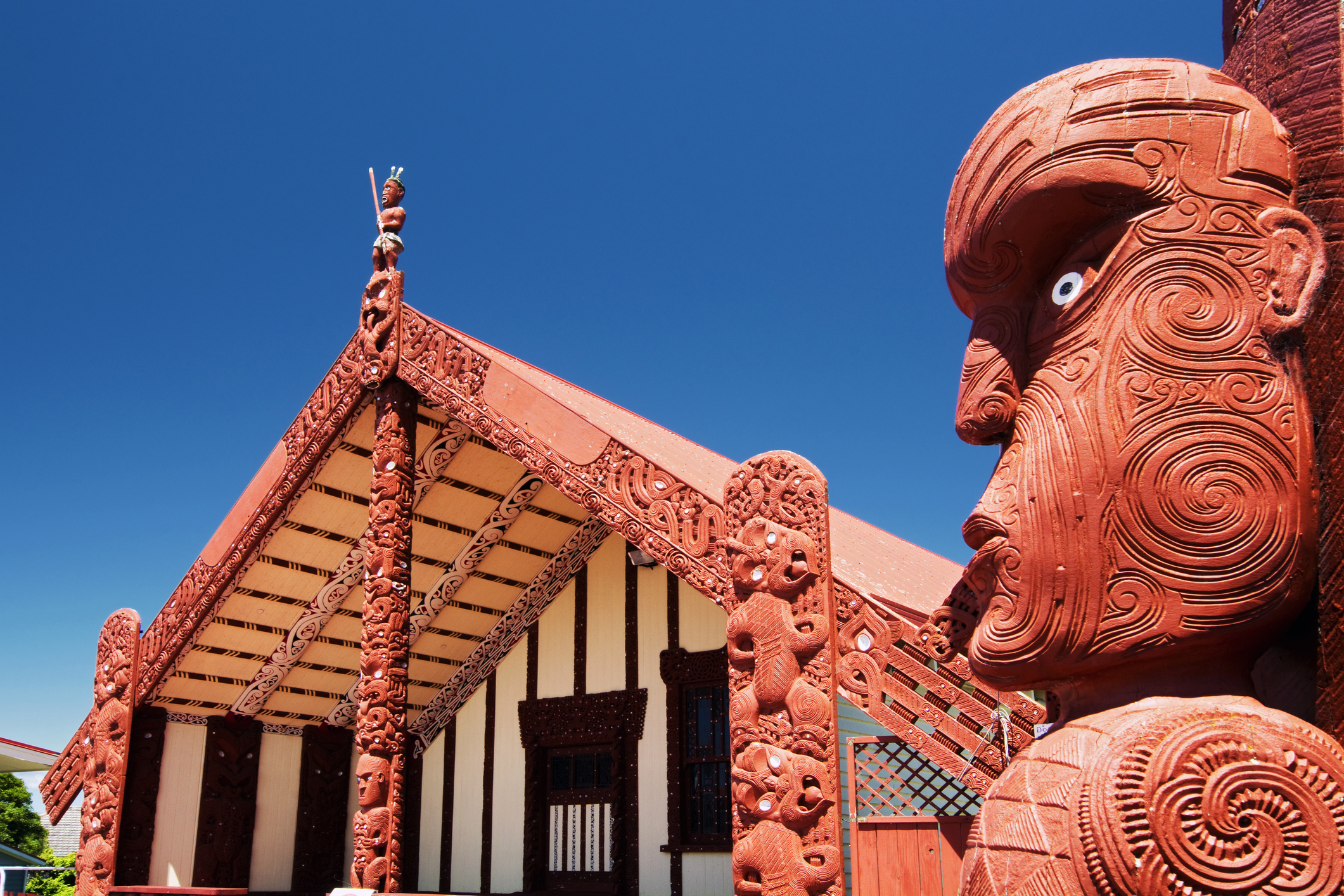 The local lumber gets put to good use in Maori carvings around Rotorua.