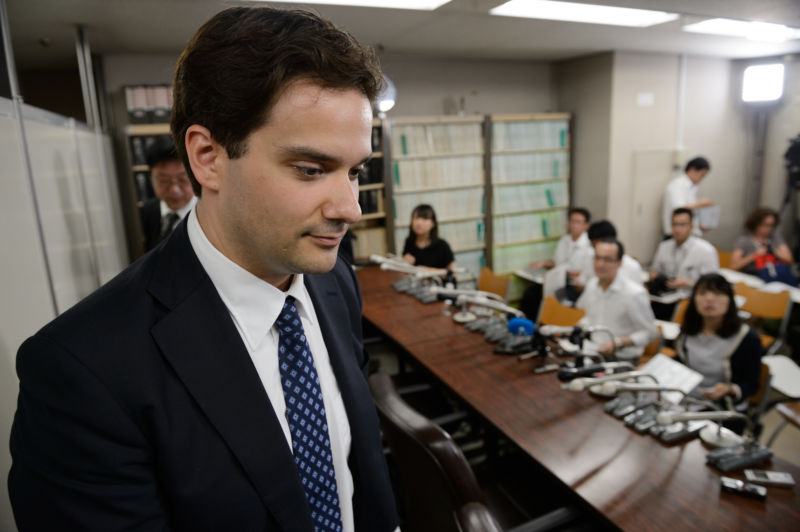 Mark Karpeles, former chief executive officer of Mt. Gox, departs following a news conference in Tokyo, Japan, on Tuesday, July 11, 2017.