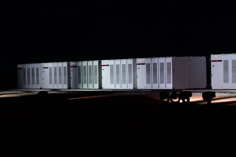 ADELAIDE, AUSTRALIA - SEPTEMBER 29:  Tesla Powerpack batteries during Tesla Powerpack Launch Event at Hornsdale Wind Farm on September 29, 2017 in Adelaide, Australia.   (Photo by Mark Brake/Getty Images)