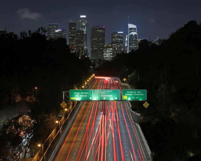 Downtown Los Angeles from the 110 Freeway in 2017.