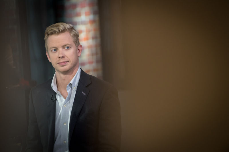 Steve Huffman, cofounder and chief executive officer of Reddit Inc., listens during a Bloomberg Technology television interview in San Francisco in 2017.